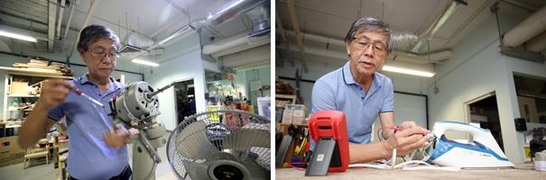 孙先生觉得电器维修课程很实用,让他学会进行简单的修理,例如修理电风扇及检查烫头为什么不热。