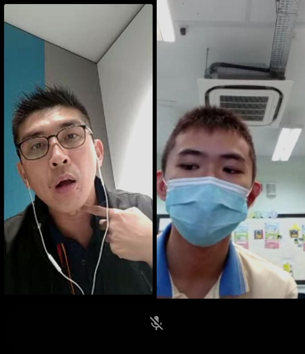 疫情期间,林成枝通过视讯与特需学生排练看病情形。